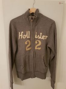 TBE Sweat Hollister gris zippé S