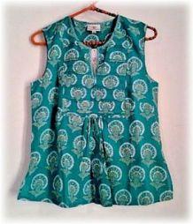 Top, blouse en coton ANOKHI, Taille XS, imprimé au block print