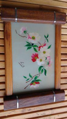 plateau bois et aquarelle art déco