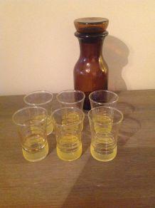 6 verres granité jaune vintage