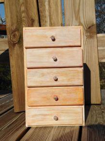 coffret en bois 5 tiroirs
