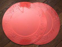 Lot De 4 Sous Grandes Assiettes Plastifiées En Carton Rouge