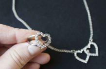 collier et bague coeur