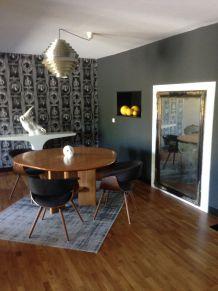 4 chaises bois et tissus gris anthracite