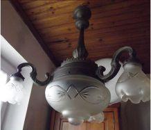 Ancien lustre en bronze 4 points lumineux