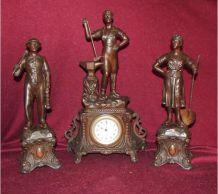 Horloge et statuettes thème mineurs