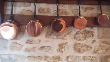 5 casseroles étamées en cuivre