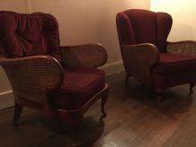 2 bergères /fauteuils cannés