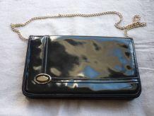 Pochette vintage femme cuir noir chaine doree
