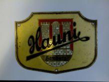Plaque métal Hauni Hambourg ancienne et rare