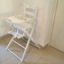 Chaise haute bois blanc pliable