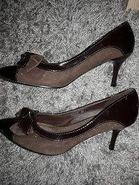 Escarpins marrons bi-matières