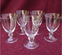 Suite de 5 verres en cristal Daum, modèle Orval