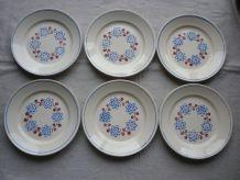 6 assiettes plate Badonviller vintage