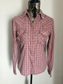 Chemise à carreaux vintage coloris vieux rose marque Chipie taille 38