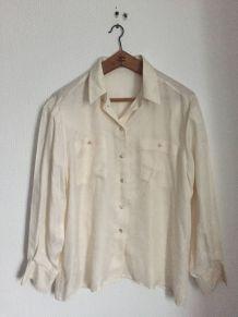 Chemise blanc écru à motifs 100% soie Marque Bianca Taille 42
