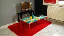Table basse avec meuble tv et tapis