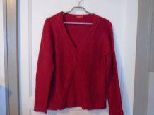 Pull rouge bordeau tissaia