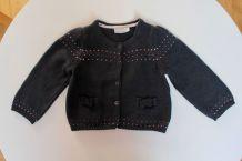 Gilet fille Natalys en laine grise 12 mois / 1 an