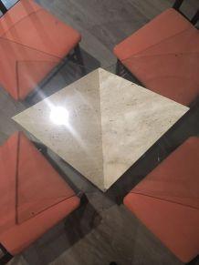 Table ronde en verre pied en marbre massif