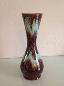 Vase vintage en céramique Vallauris marron et bleu