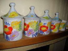 Série de 5 pots à épices, très colorés