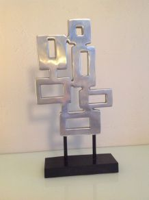 Sculpture design vintage en métal / esprit années 70