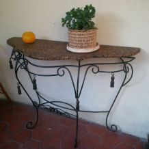 CONSOLE FER FORGE / PLATEAU VANNERIE