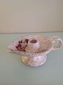 Bougeoir à main avec anse - Céramique Vallauris à Décor petites fleurs mauves