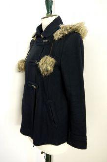 Duffle coat manteau court Promod pompon bleu fausse fourrure capuche
