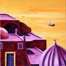 """Tableau Peinture à l'huile """"Médina tunisienne""""."""