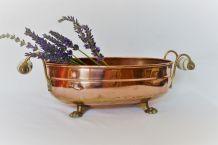 Jardinière cuivre et poignées porcelaine