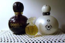 "Flacons de parfum ""COBRA"" Cobra Noir et Cobra blanc argent"