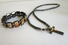 Bijoux en perles hématite religieux - Bracelet des Saints, et collier avec crucifix