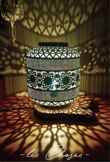 Lampe mandala (bois et métal)