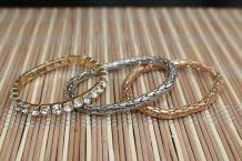 lot bracelet effet argente dore diamant fantaisie