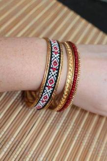 lot bracelets effet dore perle aztèque