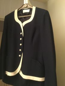 Tailleur bleu marine et blanc vintage