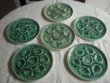 6 assiettes a huitre en ceramique verte