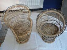 2 fauteuils rotin poupee style Emmanuelle