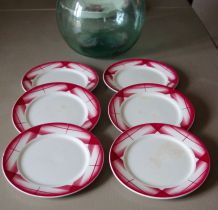 Lot 6 assiettes dessert Digoin Sarreguemines Artix rose