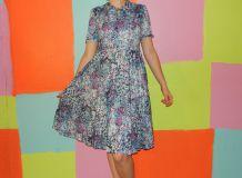 robe patineuse motif fleur T42-44 vintage