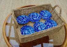 6 soucoupes porcelaine Anglaise bleue Churchill