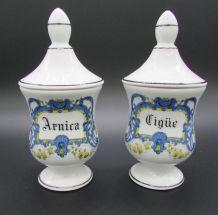 2 petits pots à pharmacie porcelaine de Limoges