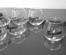 """6 verres cognac, medaillon """"cognac"""" en étain"""