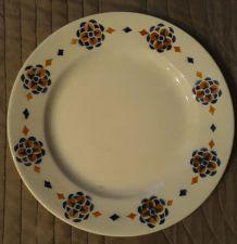 assiette ancienne motif rosaces, hamage et moulins des loups