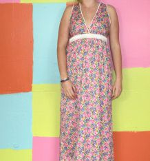 robe droite longue motif fleur décollette T42-44 vintage