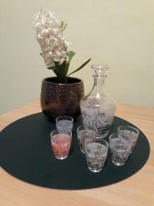 service liqueur Carafon et 6 verres, Luminarc vintage années 60-70