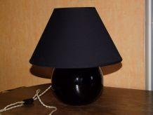 LAMPE BOULE EN VERRE NOIRE ANCIENNE