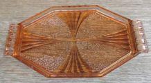 PLATEAU OCTOGONAL/ART DECO ROSE TEINTEE